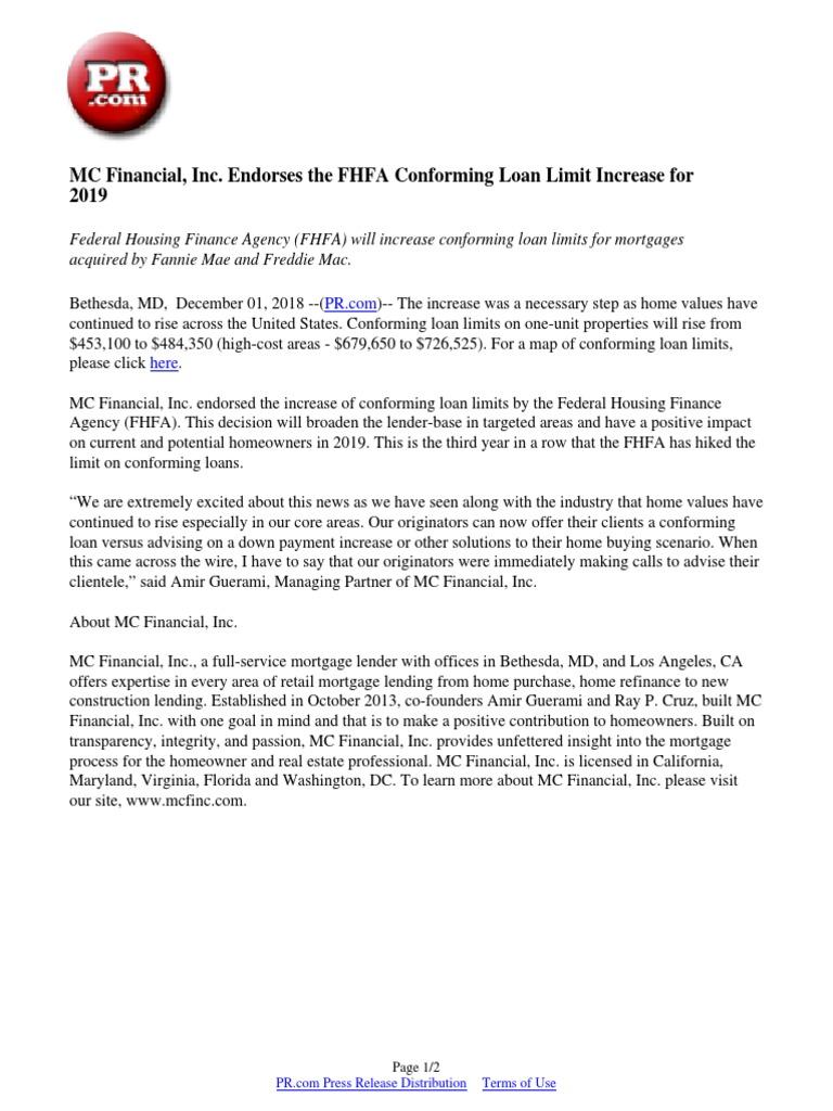 MC Financial, Inc  Endorses the FHFA Conforming Loan Limit