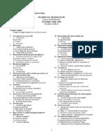 2006 Biologie Etapa Judeteana Subiecte Clasa a IX-A 1