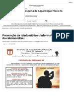 Instituto de Pesquisa Da Capacitação Física Do Exército - Prevenção Da Rabdomiólise