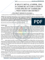 Monitoring of Heavy Metal (Copper, Zinc, Iron, Lead and Cadmium) Accumulation in Fresh Water Fish Species of Tammileru Reservoir West Godavari District