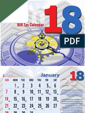 2018 Bir Tax Calendar | Value Added Tax | Withholding Tax