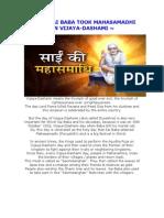 Why Shirdi Sai Baba Took Mahasamadhi on Vijaya-Dashami