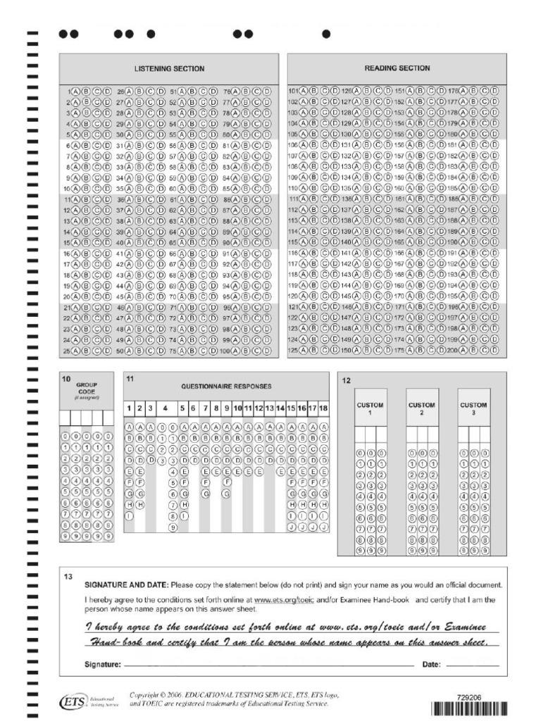123doc Answer Sheet Toeic Pdf Pdf Toeic reading test pdf