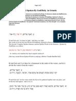 The Words Of God Spoken By God/Deity  in Genesis