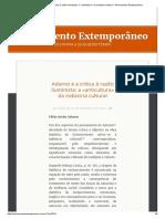Adorno e a Crítica à Razão Iluminista_ a «Anticultura» Da Indústria Cultural – Pensamento Extemporâneo