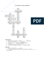 Cross Word Puzzle for Periodic Table