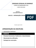 Aula 01 - Introdução a Disciplina de Construção de Edifícios II