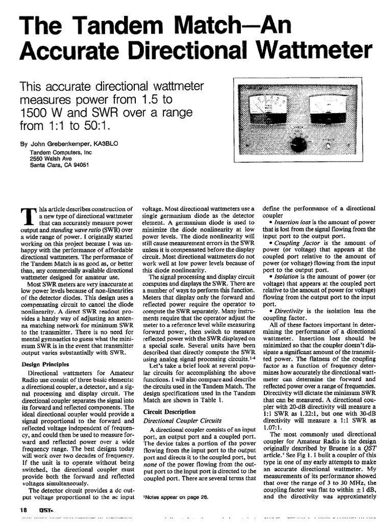 Tandem Match Power Wattmeter