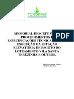 MEMORIAL DESCRITIVO ELEVATORIA S TEREZINHA