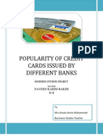 Popularity of Credit Cards Issued by Different Banks
