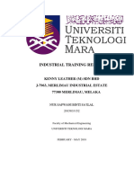 Industrial Training Report Cover (Wani)