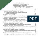 Economics Question  Faridpur Engineering College