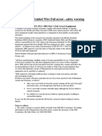 Fixed Rail and Guided Wire Fall Arrest - Safety Warning