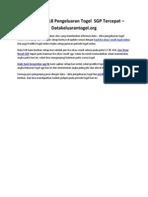 Data SGP 2018 Pengeluaran Togel SGP Tercepat - Datakeluarantogel org