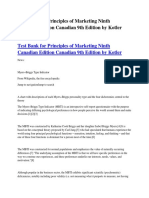 Test Bank for Principles of Marketing Ninth Canadian Edition Canadian 9th Edition by Kotler