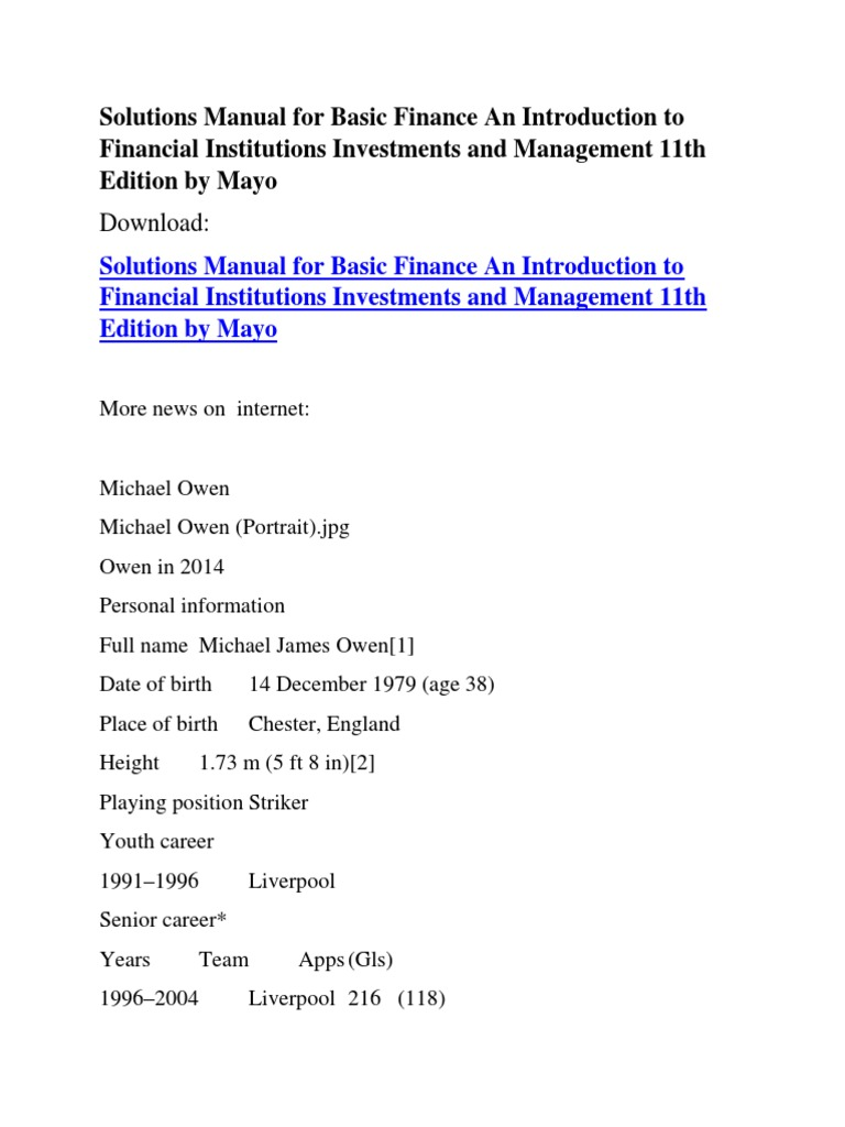 Solutions Manual for Basic Finance An Introduction to Financial  Institutions Investments and Management 11th Edition by Mayo | Real Madrid  C.F. | Liverpool ...