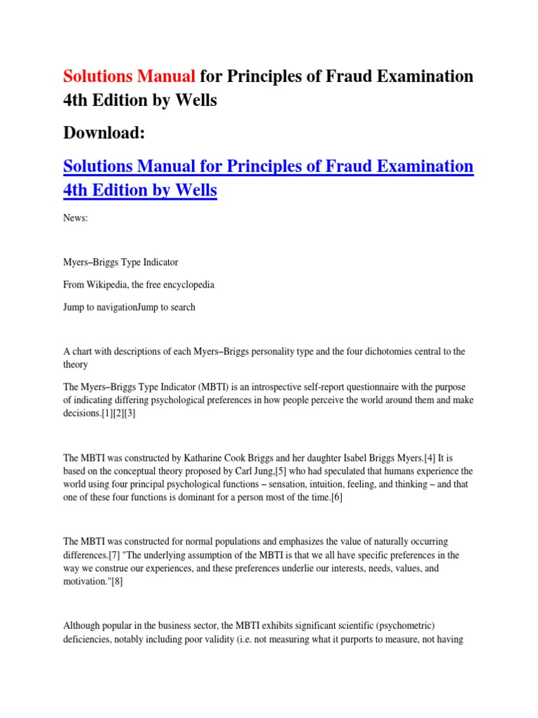 Solutions Manual for Principles of Fraud Examination 4th Edition by Wells |  Personality Type | Extraversion And Introversion