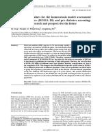 Optimal Cutoff Values for the Homeostasis Model Assessment