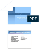 The Structure of the Equity Research Report