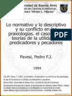 Lo normativo y lo descriptivo y su conflicto en las praxiologias - Pavesi Pedro
