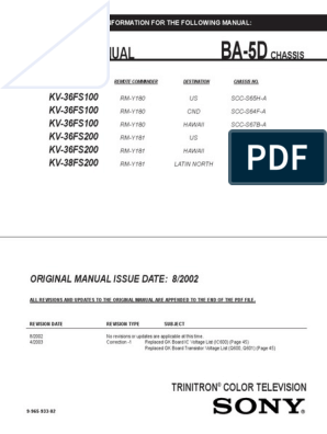 Sony_KV-36FS100_36FS200 | Cathode Ray Tube | Electronic