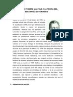 Aporte de Thomas Malthus a La Teoria Del Desarrollo Economico