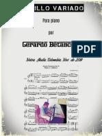 PASILLO VARIADO. Para piano Partitura. Gerardo Betancourt.