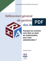 Referentiel General de Gestion Des Archives R2GA - Octobre 2013