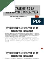 Arbitration as an Alternative Resolution