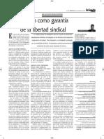 El Fuero Sindical Como Garantía de La Libertad Sindical - Autor José María Pacori Cari