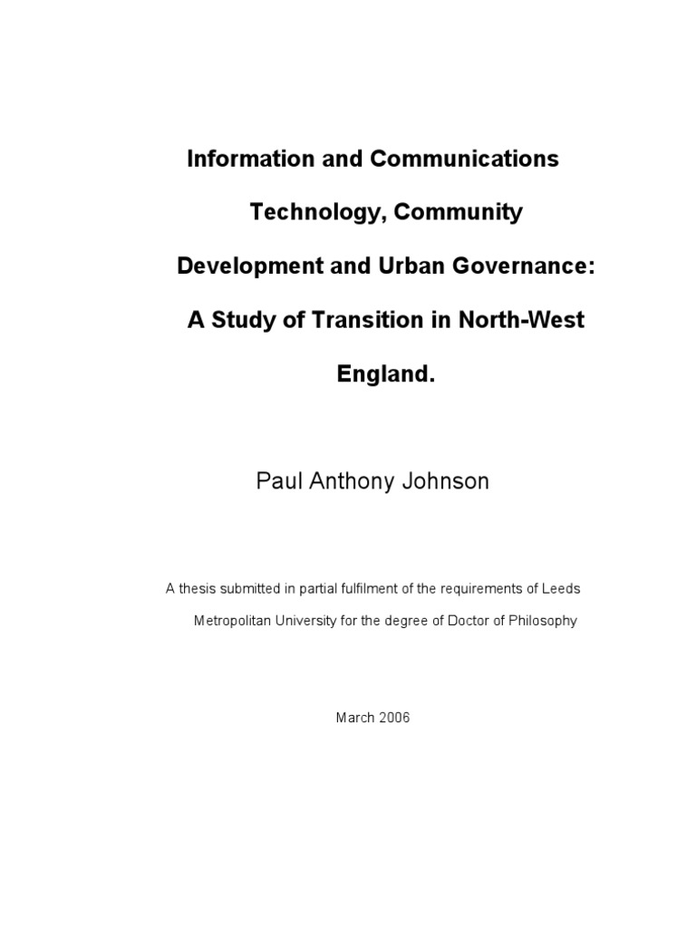 Phd thesis on community development