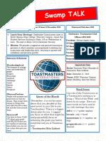 Swamp Talk, Okefenokee Toastmasters Newsletter, December 2018