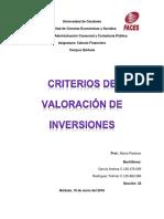 CRITERIOS DE VALORACIÓN DE INVERSIONES