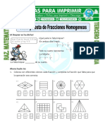 Ficha Suma y Resta de Fracciones Homogeneas Para Tercero de Primaria 1