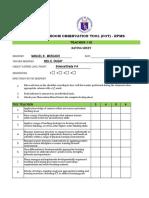 Cot Rating Sheet