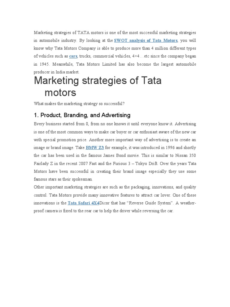 Marketing Strategies of TATA Motors is One of the Most Successful Marketing Strategies in Automobile Industry | Car | Luxury Vehicles