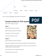 Sample Timeline for PhD Students