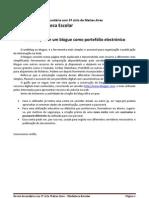 GUIÃO  MEDIATECA de construção de WEBBLOG como portefolio electrónico