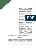 Proyecto que propone declarar la nulidad de la elección de gobernador  en Puebla