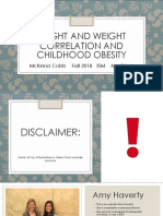 height and weight correlation and childhood obesity