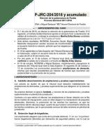 Resumen proyecto de sentencia - elección Puebla 2018