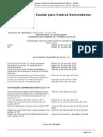 Calendario Escolar Para Centros Universitarios Universidad de Guadalajara 2018 - 2019