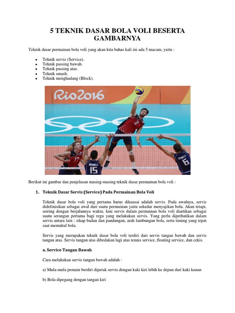 5 Teknik Dasar Bola Voli Beserta Gambarnya
