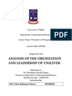 ANALYSIS OF THE ORGANIZATION AND LEADERSHIP OF UNILEVER