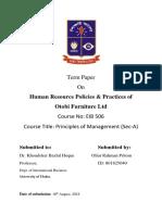 Human Resource Policies & Practices of  Otobi Furniture Ltd