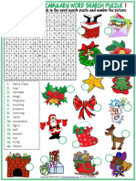 Christmas Vocabulary Esl Word Search Puzzle Worksheets for Kids