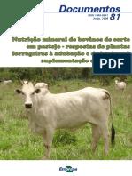 Nutrição Mineral de Bovinos de Corte Em Pastejo - Repostas de Plantas Forrageiras à Adubação e de Bovinos à Suplementação Da Pastagem
