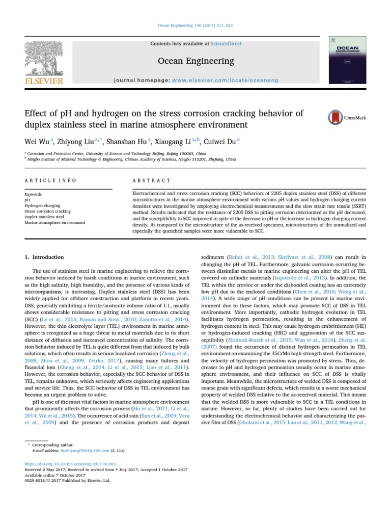 Effect of PH and Hydrogen on the Stress Corrosion Cracking Behavior