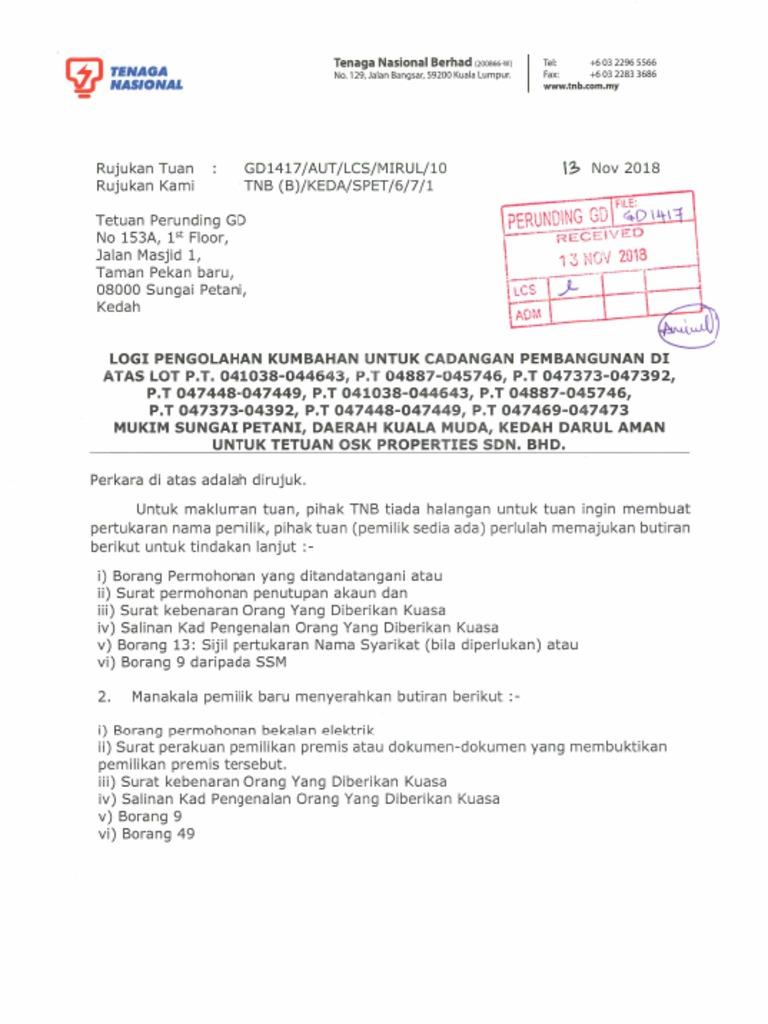 Tnb Letter Pdf