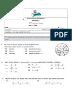 Ficha de Avaliação Sumativa de Matemática 1 7ºAno